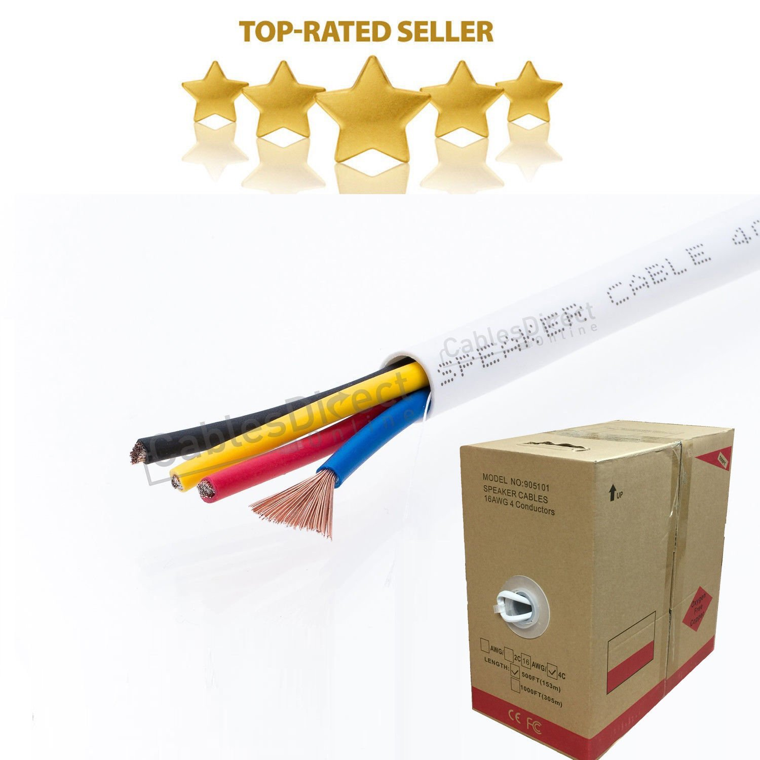 500FT Oxygen Free Pure Copper 16/4 Bulk Speaker Wire 16AWG CL2 In Wall Audio Cable (16/4)