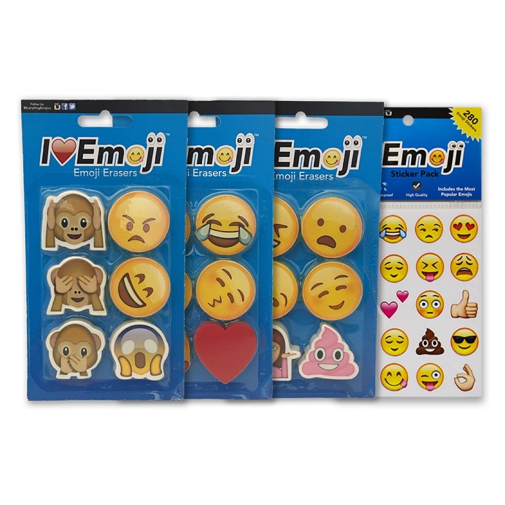 Emoji Erasers + Sticker Pack   18 Awesome Erasers + 280 Emoticon Stickers Most Wanted Item