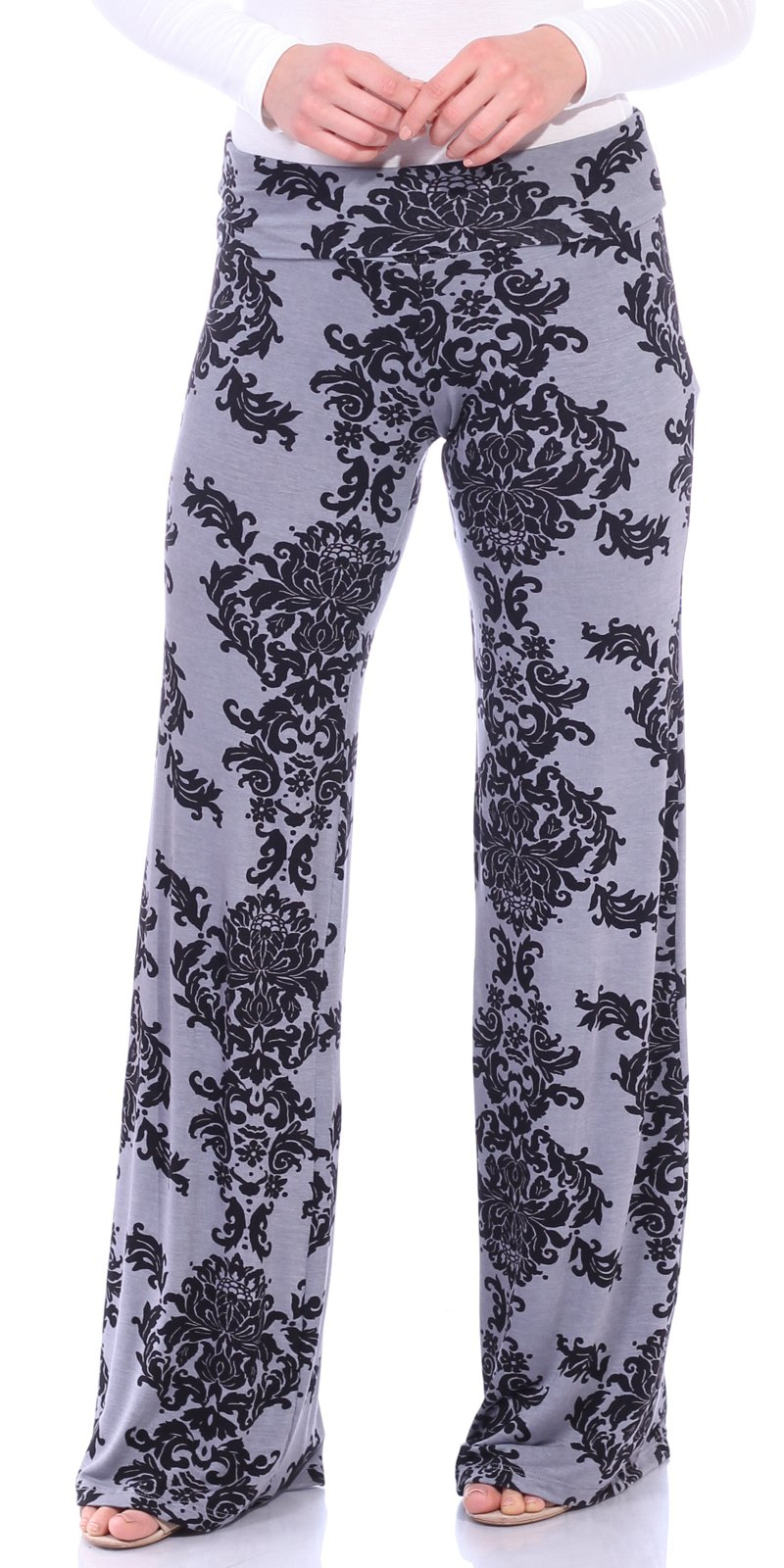 Popana Women's Casual Wide Leg Boho Flare Floral Print Palazzo Pants Made In USA Medium Gray Damask