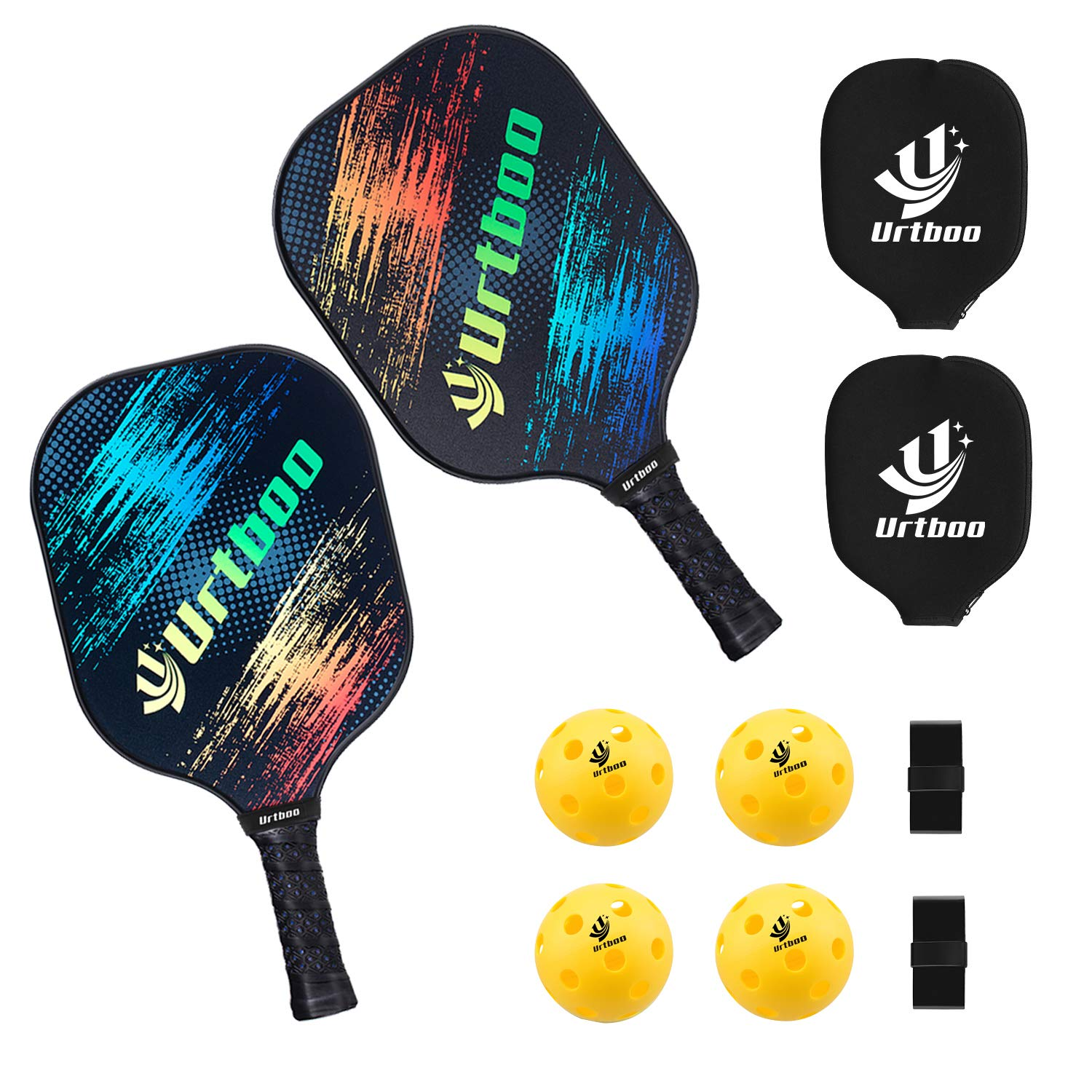Urtboo Pickleball Paddle Rackets, Graphite Pickleball Sets Graphite Face Honeycomb Composite Core Low Edge Guard Premium Grip Light Weight 8 OZ,Pickleball Racket Good Choice for Beginner&Pro by Urtboo