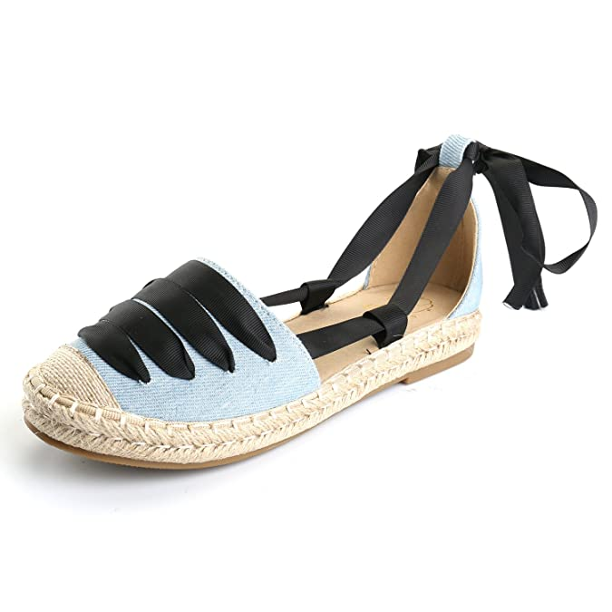 Amazon.com | Alexis Leroy Womens Closed Toe Soft Ankle-Tie Espadrilles Flats Sandals | Shoes