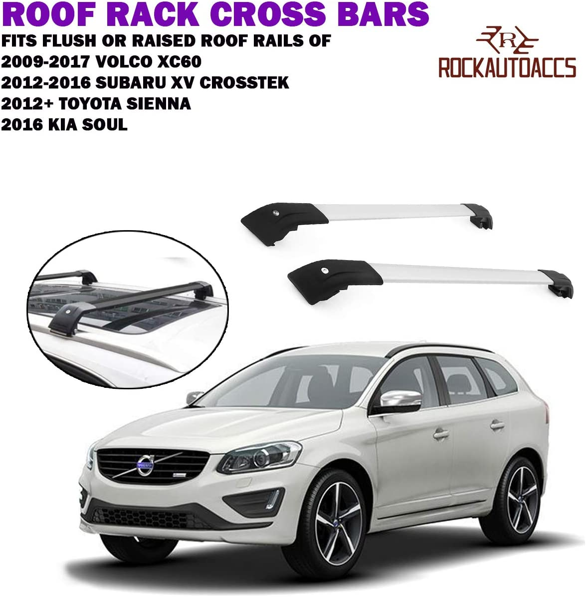ROKIOTOEX Universal Roof Rack Cross Bars Rooftop Crossbar SUV with Factory Roof Rack Side Rails One Bar Only 95, Black