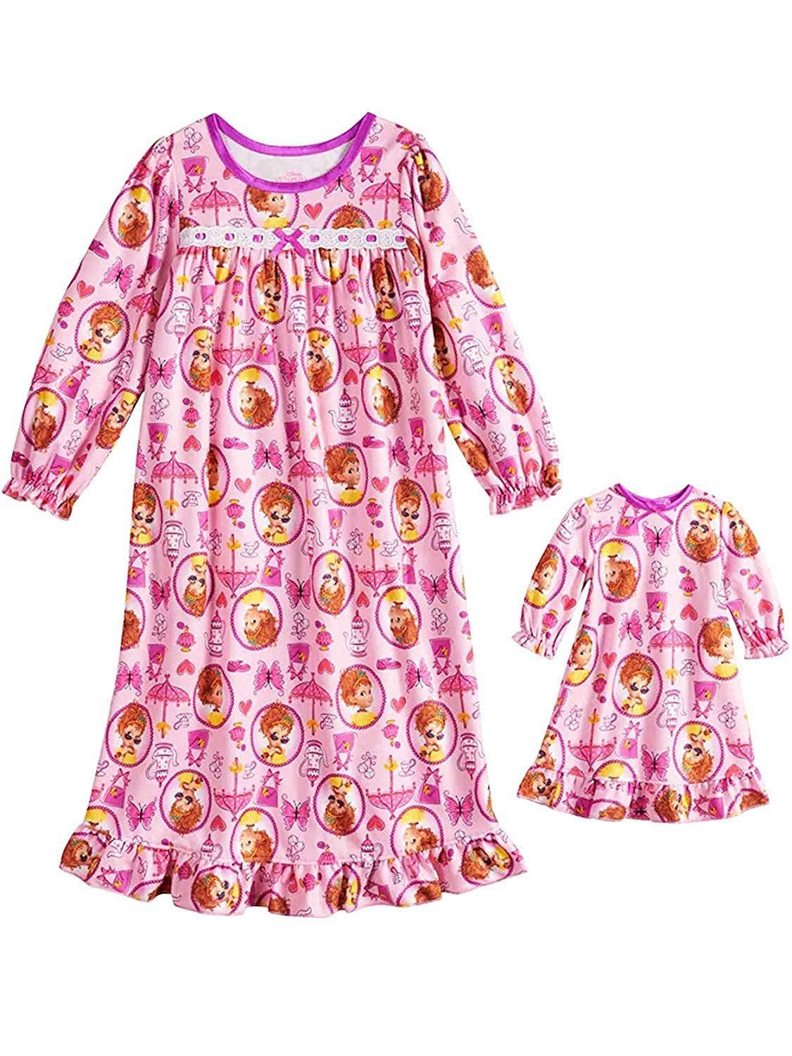 Disney Fancy Nancy Toddler Girls Flannel Granny Gown Nightgown Pajamas with Doll Gown Pink) manufacturer
