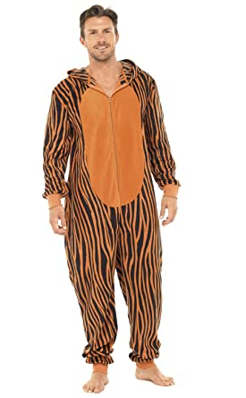Mens Tiger Pattern Hooded All in One Pyjamas Onesie Size L/XL
