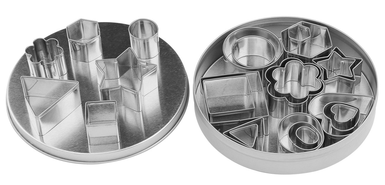 Useekoo Cookie Cutter Set Stainless Steel Metal Cookie Cutters Shapes for kids,Plain Edge Geometric Shapes Multi-size Molds for Biscuit Chocolate Vegetable Cutter Bakeware,Set of 24