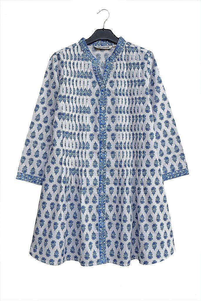 bluee Motif Print Ayurvastram KRITI Hand Block Printed Cotton V Neck Tunic, Kurti, Top, Blouse