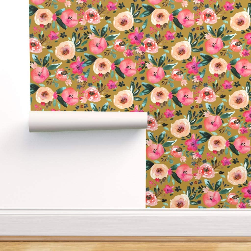 Spoonflower Pre Pasted Removable Wallpaper Mustard Floral Pink