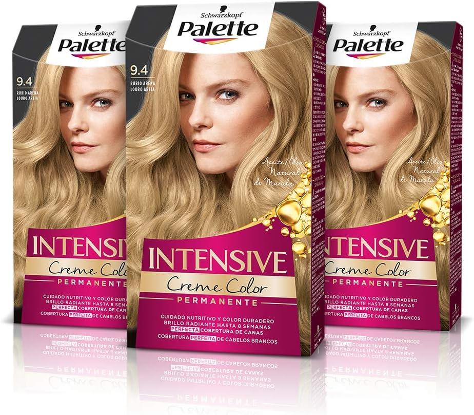 Schwarzkopf Palette Intensive Creme Color – Tono 9.4 cabello Rubio Arena (Pack de 3) - Coloración Permanente de Cuidado con Aceite de Marula, ...