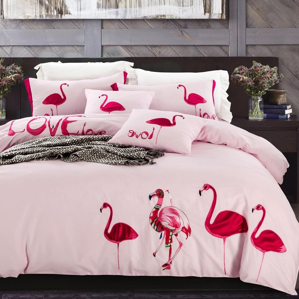 Flamingo Bedding Sets Flamingo Embroidered Duvet Cover Set