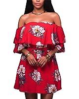 Eloise Isabel Fashion Mulheres red dress boho estilo flor impresso barra pescoço fora do ombro ruffle