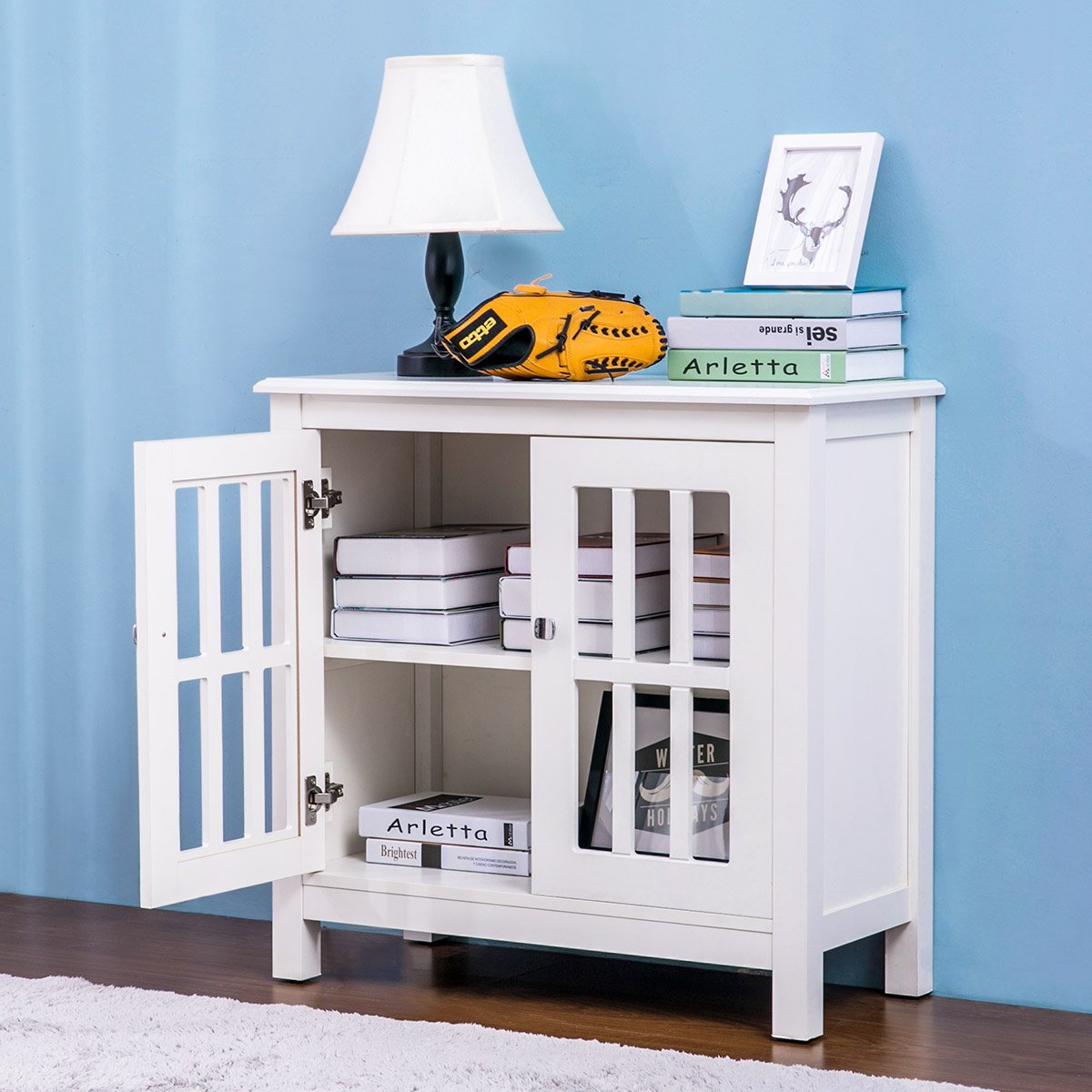 Harper&Bright Designs Accent Storage Cabinet Free Standing with Double Doors and 2 Shelves
