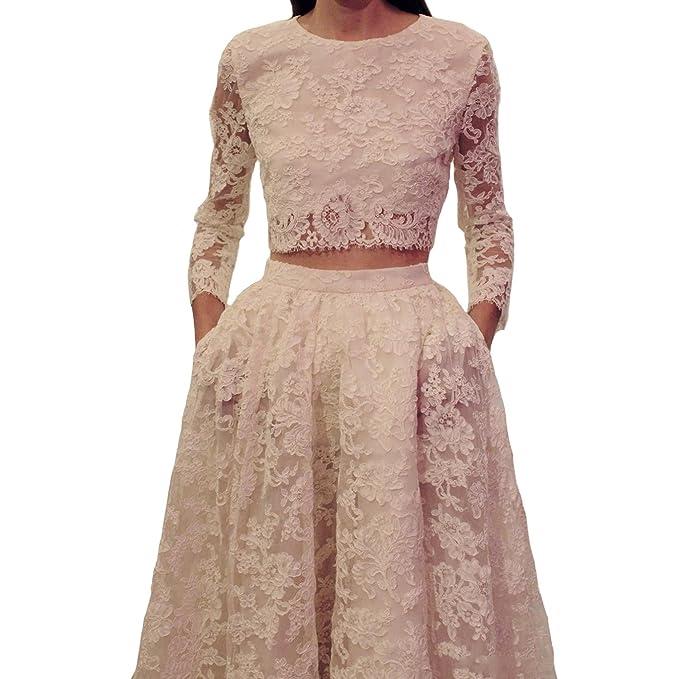 Engerla encaje joya dos piezas manga larga de volantes barrido tren vestido de novia blanco blanco
