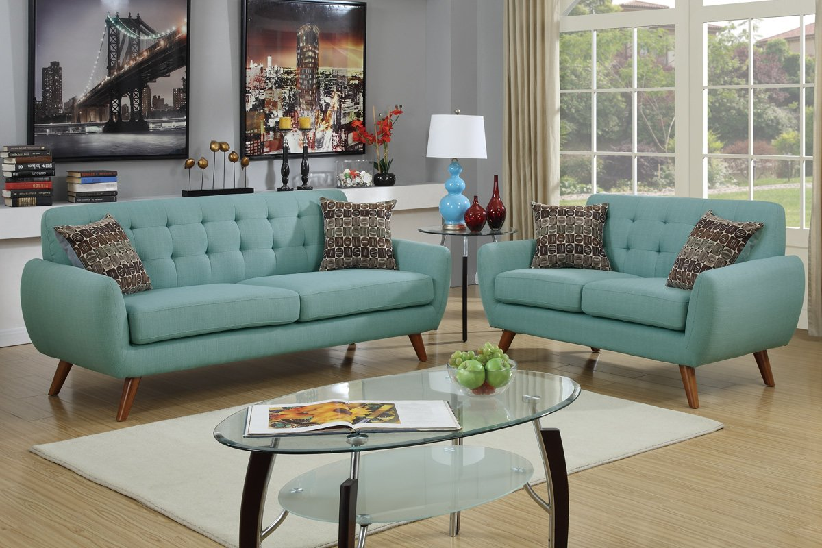 Amazon.com: Poundex F6914 Bobkona Sonya Linen Like 2 Piece Sofa And  Loveseat Set, Laguna: Kitchen U0026 Dining Part 68