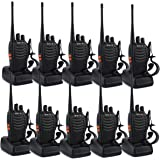 Retevis H-777 Two Way Radio UHF 400-470MHz Signal Frequency Single Band 16 CH Walkie Talkies with Original Earpiece (10 Pack)