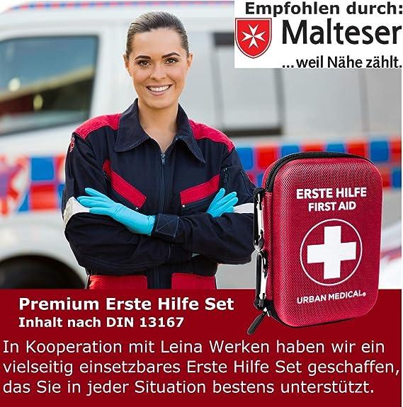 para Hacer Deporte URBAN MEDICAL Botiqu/ín de Primeros Auxilios Premium de Alemania DIN 13167 l para Acampar para Viajar para la Bicicleta o para la casa.