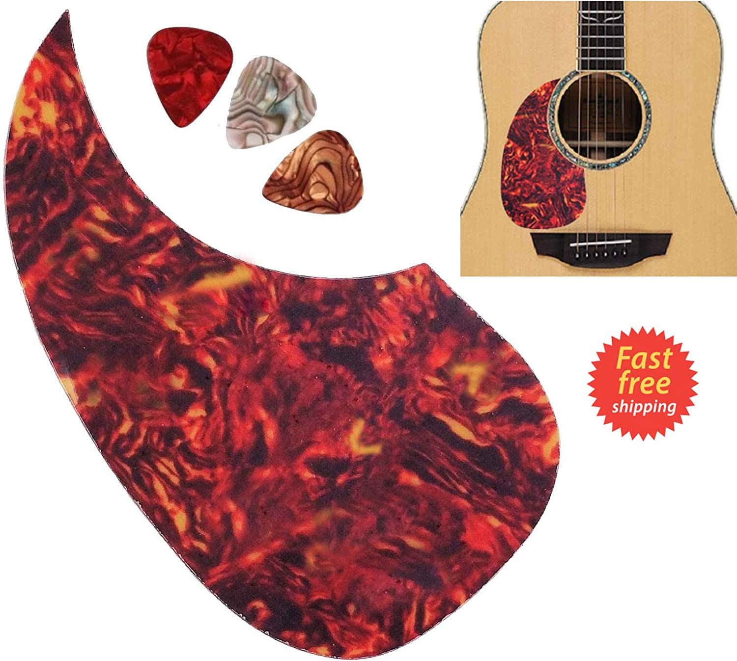 Musiclily Left Handed Oversize Teardrop Acoustic Guitar Self-adhesive Pickguard for Martin D28 Style guitar Black Pearl