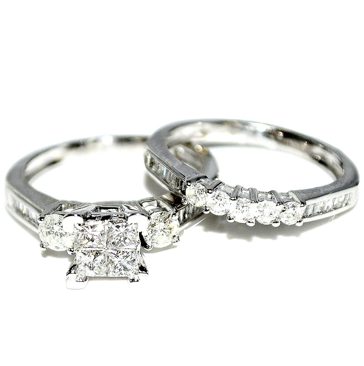 Amazon Diamond Bridal Set 10K White Gold Engagement Ring
