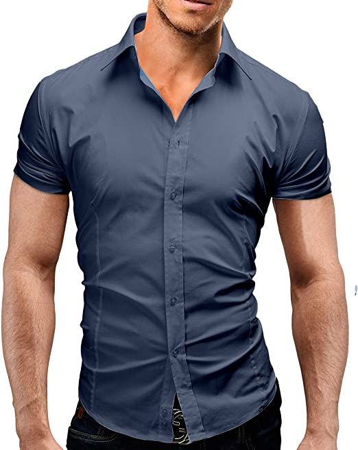 Lyon Becker Mens Short Sleeve Shirts Casual Formal Slim Fit Shirt Top S M L XL PS05