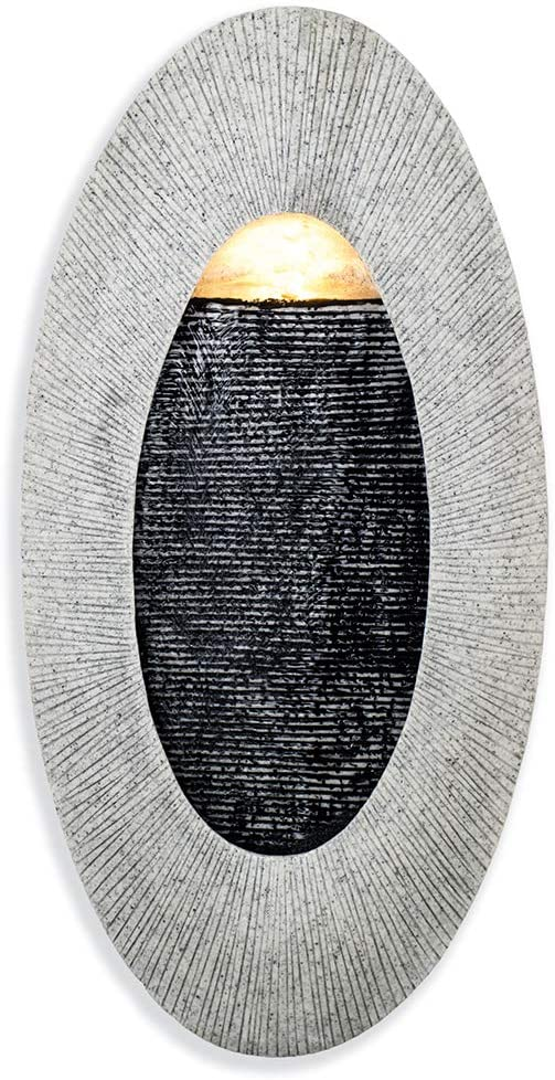 Make Lemonade Indoor/Outdoor Waterfall Hanging Fountain, Handcrafted Natural Faux Stone Exterior with LED Lights, Patio and Home Wall Décor, Oval, Tan: Home & Kitchen