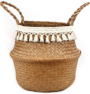 BlueMake Boho Woven Seagrass Belly Basket for Storage Plant Basket or Toy Basket Living Bathroom (Large, Beige)