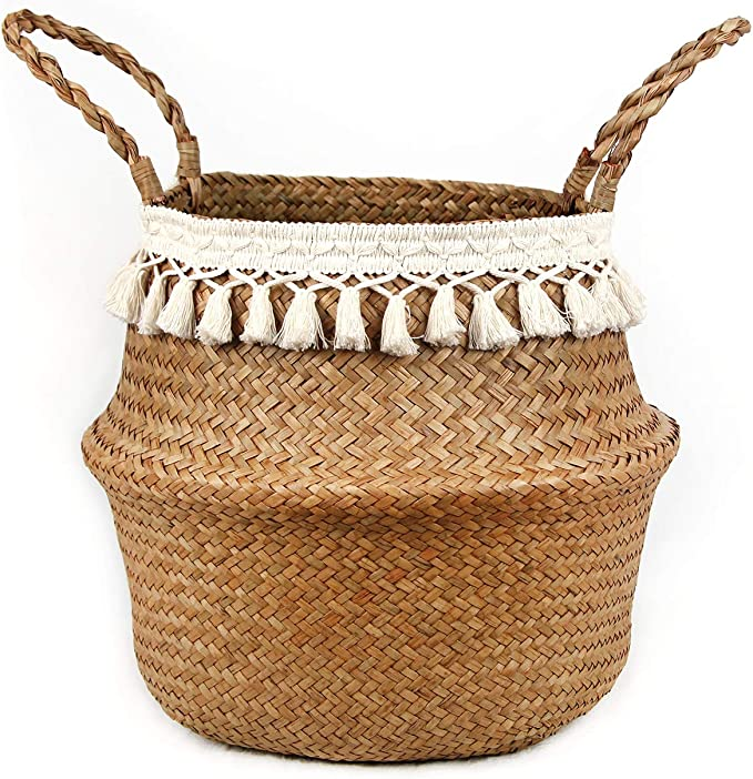 Amazon.com: BlueMake Boho Woven Seagrass Belly Basket for Storage Plant Basket or Toy Basket Living Bathroom (Small, Beige)