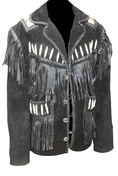 classyak Hombres de Western Cowboy Chaqueta de piel con flecos y deshuesada: Amazon.es: Ropa y accesorios