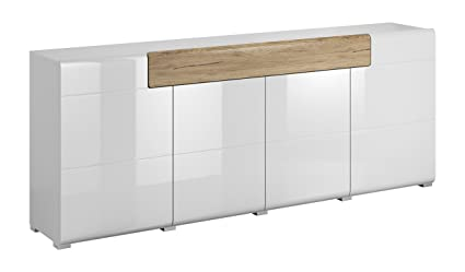 TOLEDO Collection Sideboard 25 U2013 Wide Sideboard In White Color With San  Remo Oak Elements U2013