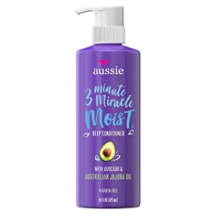 Aussie Paraben-Free Miracle Moist 3 Minute Miracle Conditioner w/ Avocado for Dry Hair Repair, 16.0 fl oz