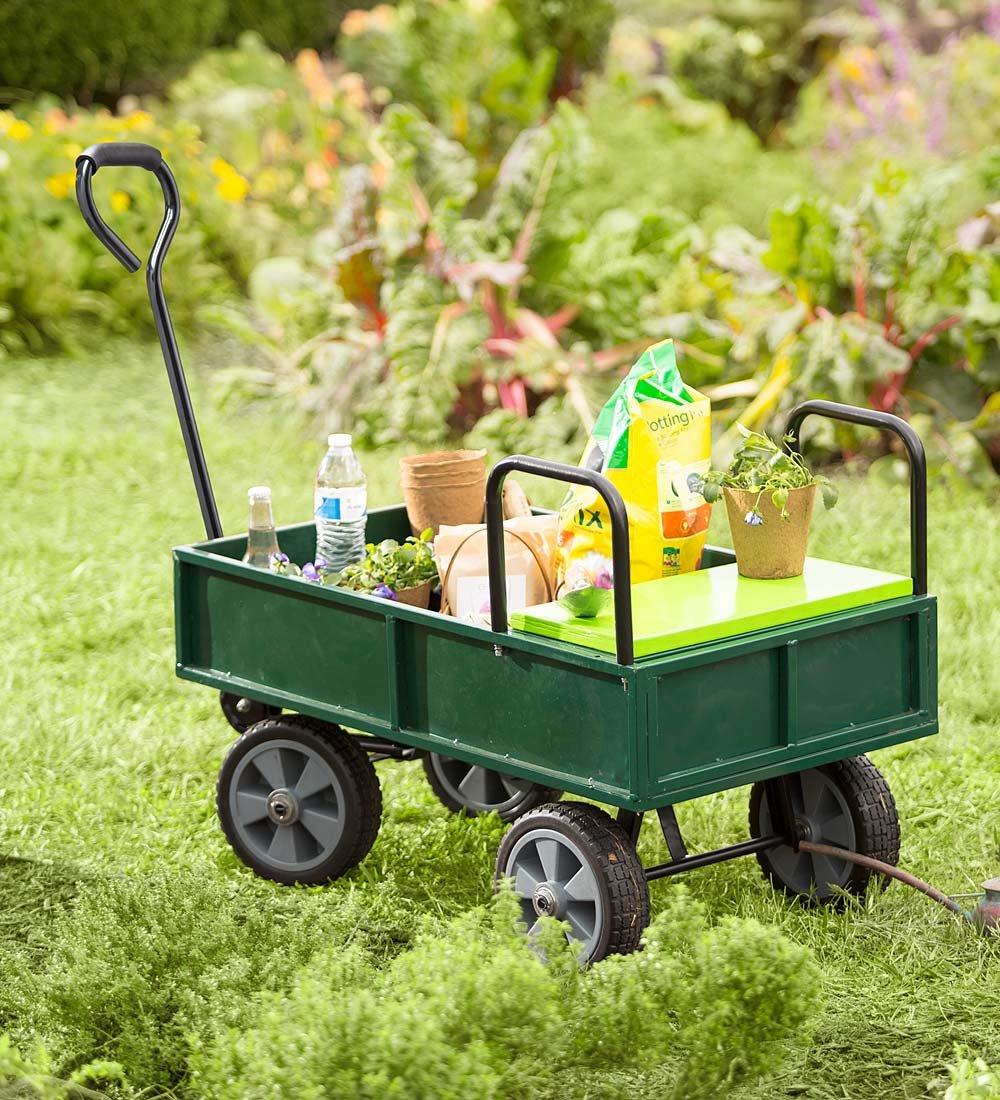 Yard and Garden Cart with Built-In Seat Made of Steel with Rubber Tires 47.25 L x 19 W x 27.5 H