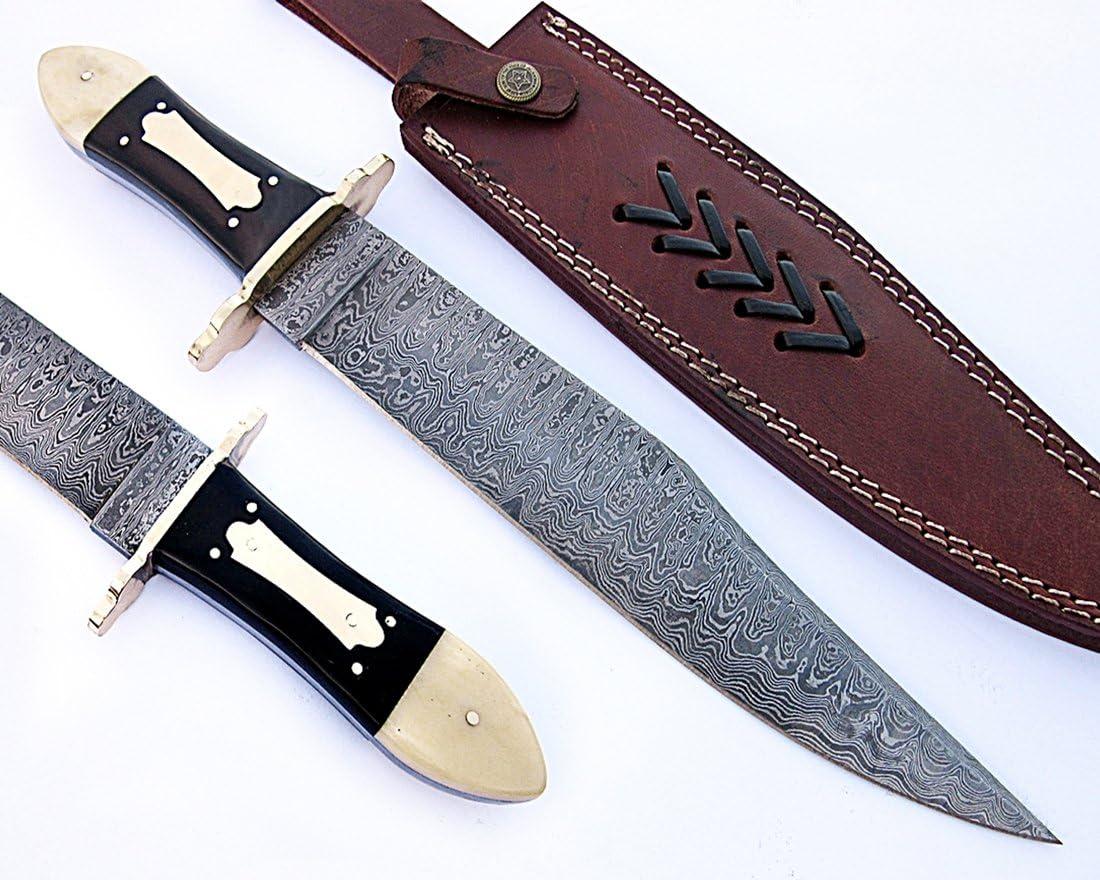 REG-HK-406, Handmade Damascus Steel 15 Inches Bowie Knife – White Bone Bull Horn Handle with Brass gaurd
