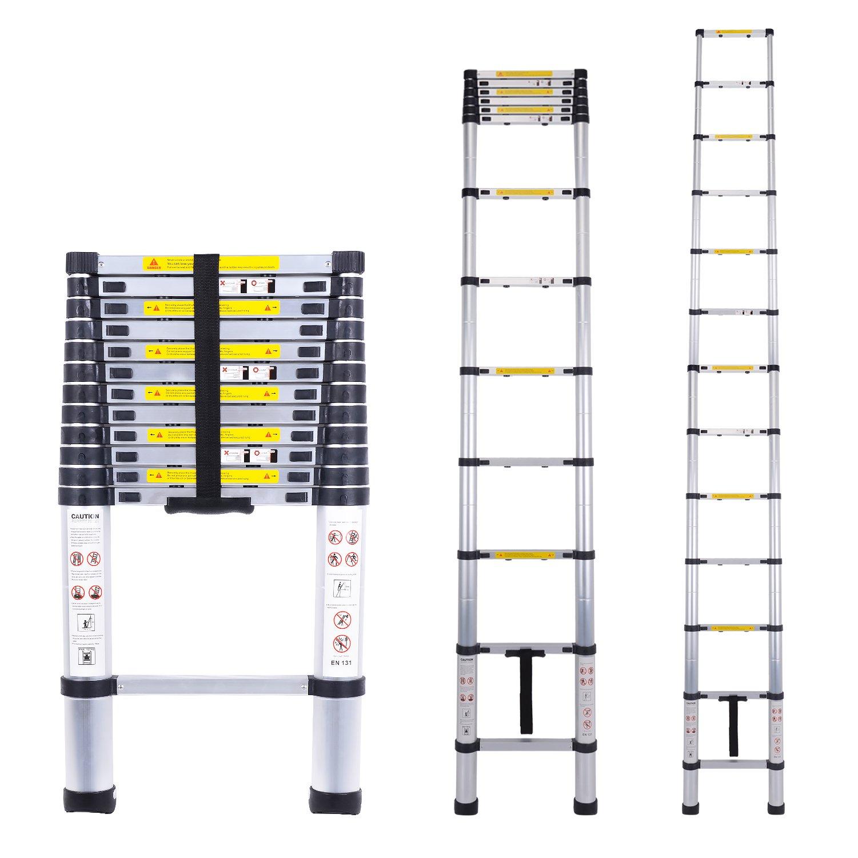 Myifan Telescopic Ladder Multi-Purpose Aluminium Telescoping Ladder Extension Extend Portable Ladder Foldable Ladder EN131Standards (3.8M/12.5Ft)