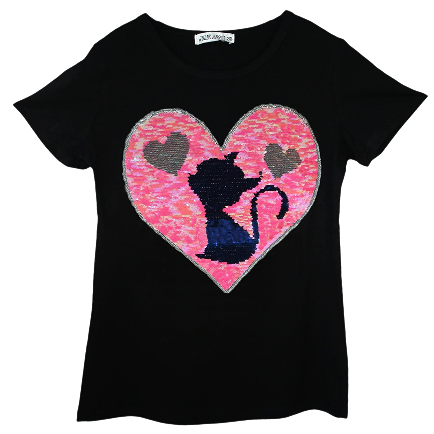 Kids Girls CAT Teddy Bear Penguin T-Shirt TEE TOP Brush Changing Sequin Age 3-14 Years