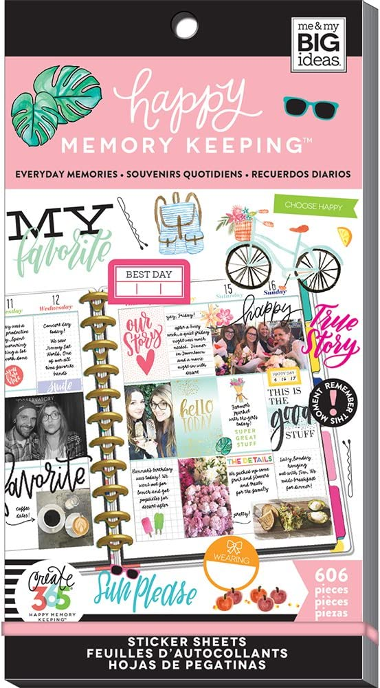 me & my BIG ideas Sticker Value Pack for Big Planner - The Happy Planner Scrapbooking Supplies - Memory Keeping Theme - Multi-Color & Gold Foil - Great for Projects & Albums - 30 Sheets, 606 Stickers