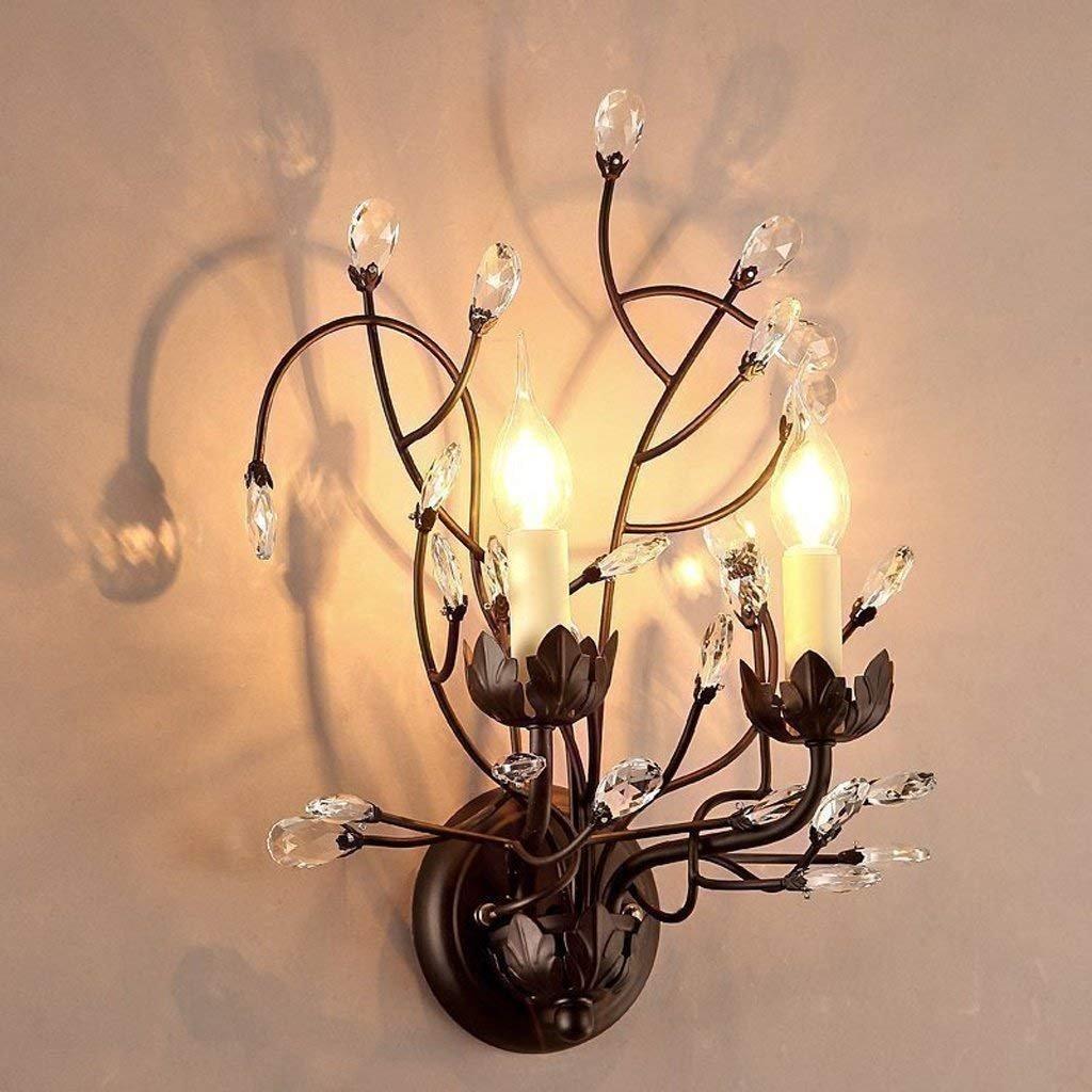 IG Nachttischlampe Wandleuchte Schlafzimmer Kristall Doppelwandleuchte Europäischen Stil Retro Wandleuchte Treppenlampen