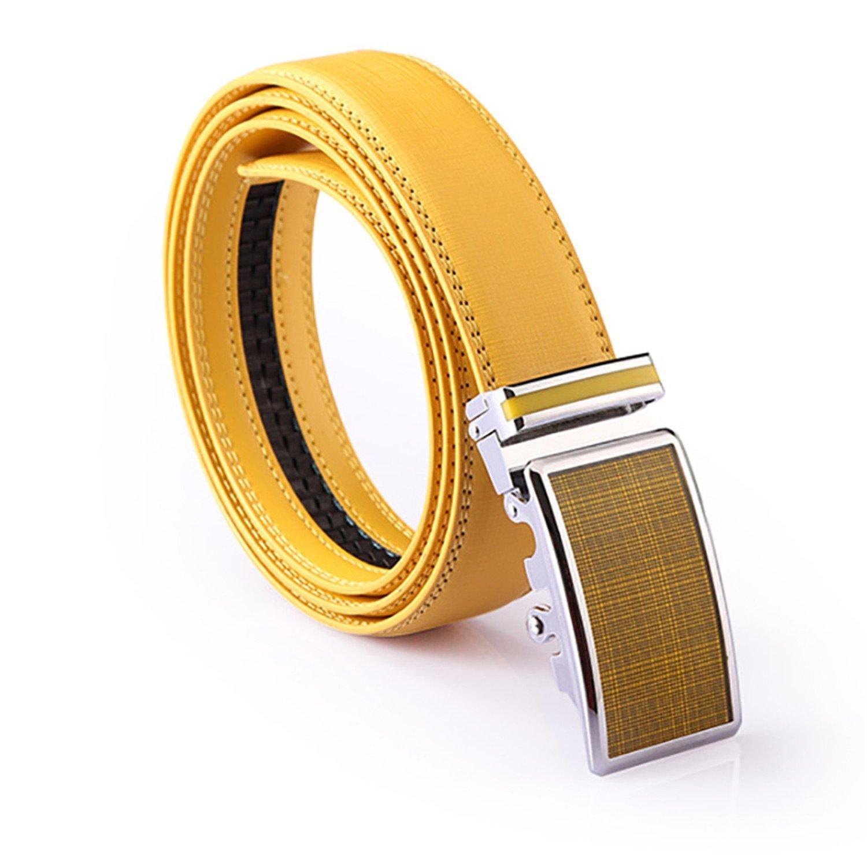Mens Genuine Leather Strap Waistband Belt for Women Weddingigh QualityYellow