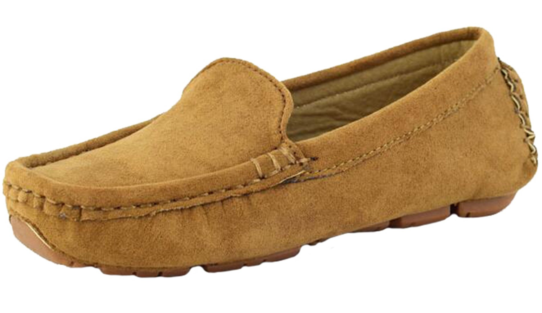 PPXID Girl's Boy's Suede Slip-on Loafers Casual Shoes(Toddler/Little Kid/Big Kid)-Brown 7 US Size