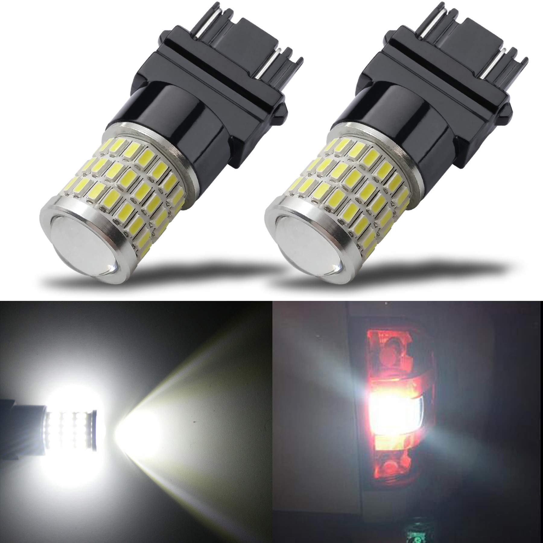 iBrightstar Newest 9-30V Super Bright Low Power 3156 3157 3057 4157 LED Bulbs with Projector Replacement for Back Up Reverse Lights and Tail Brake Parking Lights, Xenon White