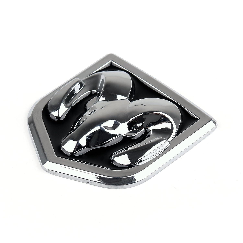 2.40x2.60Inch Areyourshop Head Grill Emblem Badge Sticker Decal Chromed Metal for Dodge Ram 6 x6.6CM Black