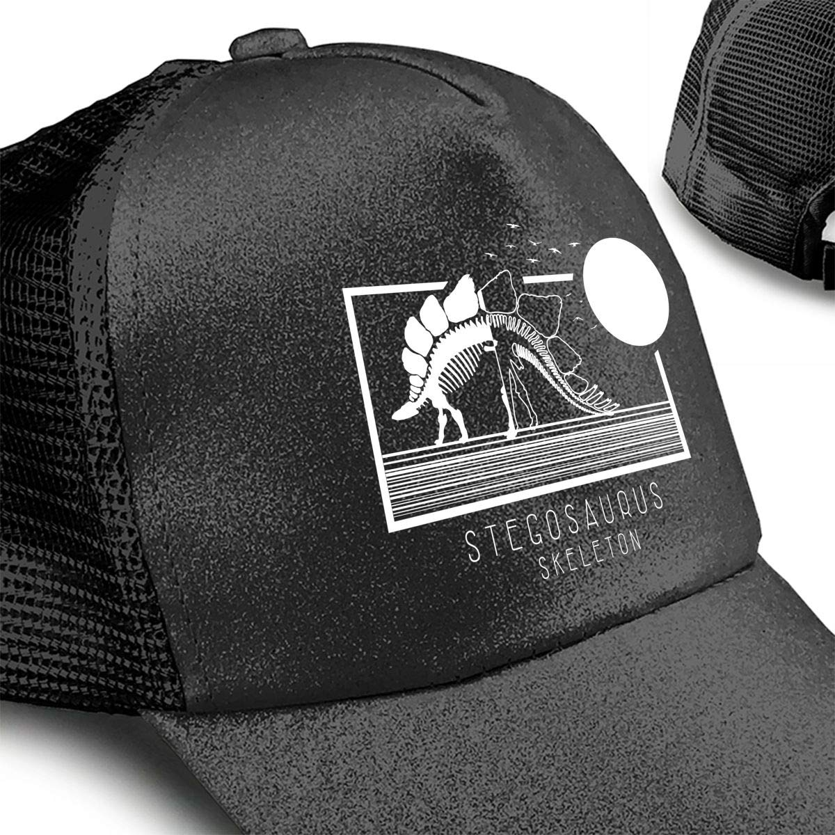 Stegosaurus Skeleton Illustration Ponytail Messy High Bun Hat Ponycaps Baseball Cap Adjustable Trucker Cap Mesh Cap