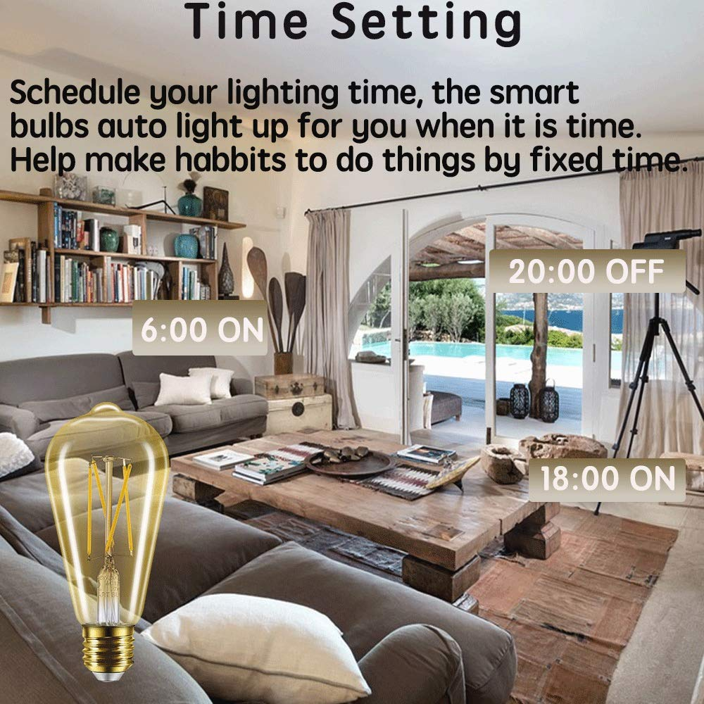 ST21 Gold, 3 Pack Smart Light Bulb LED Edison Dimmable Compatible with Alexa Google Assistant E26 2700K No Hub Required