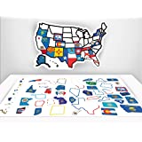 """RV State Sticker Map - 13"""" x 17"""" inches - RV Trailer Decal Accessories - USA State Flag Decals - Motorhome Road Trip Accessory - Non Magnetic Travel Stickers - Map of US States"""