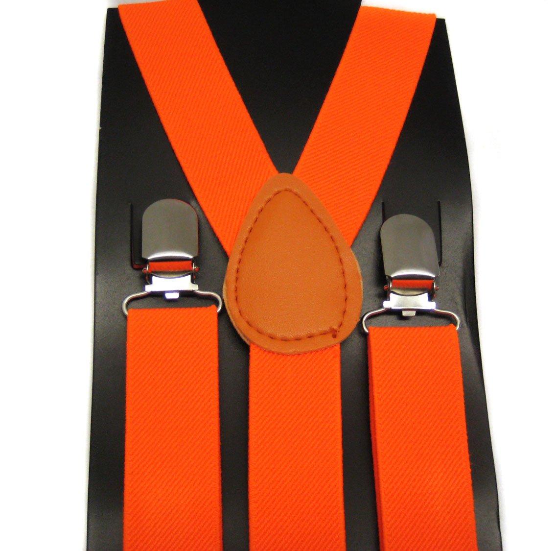 Punk Braces Suspender Unisex Plain Orange