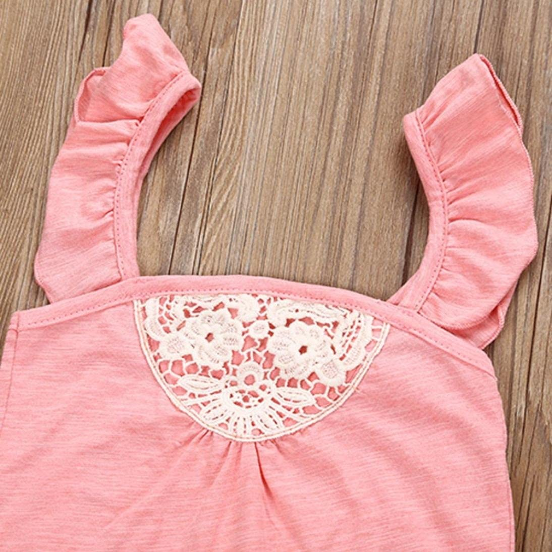 YJM Baby Clothes Toddler Baby Girls Outfit Clothes Lace Romper Jumpsuit+Floral Short Pants 1Set