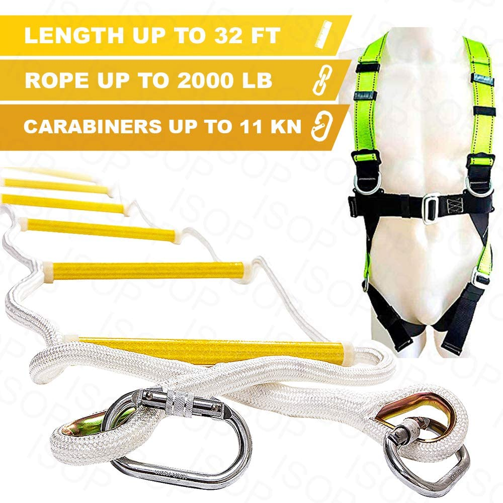 ISOP Emergency Fire Escape Rope Ladder 3-4 Story Homes 32 ft Flame Resistant Unique Safety Ladder with Hooks & Safety Cord –Fast Deploy & Simple to Use – Compact & Reusable (32ft Full Body Harness)