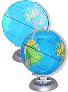 """Illuminated World Globe Lights by WhizBuilders – 8"""" Globe of The World with Stand Night Lights for Kids - Built-in LED Light Earth Globe with Easy to Read Labels for Continents, Countries, Capitals"""