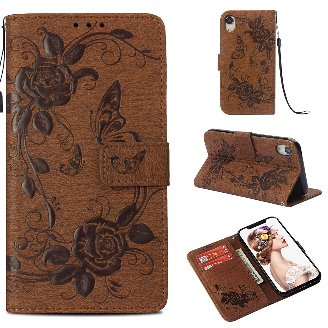 iPhone XR Case, Lyzwn Premium PU Leather Flip Wallet Case with Card Holder Magnetic Closure and Stand Feature for iPhone XR Cover