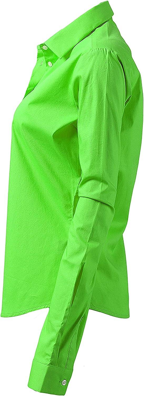 Formale ed Elastico Harrms Camicia Donna Elegante Manica Lunga Tinta Unita vestibilit/à Aderente