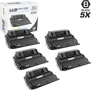 LD Compatible Toner Cartridge Replacement for HP 45A Q5945A (Black, 5-Pack)