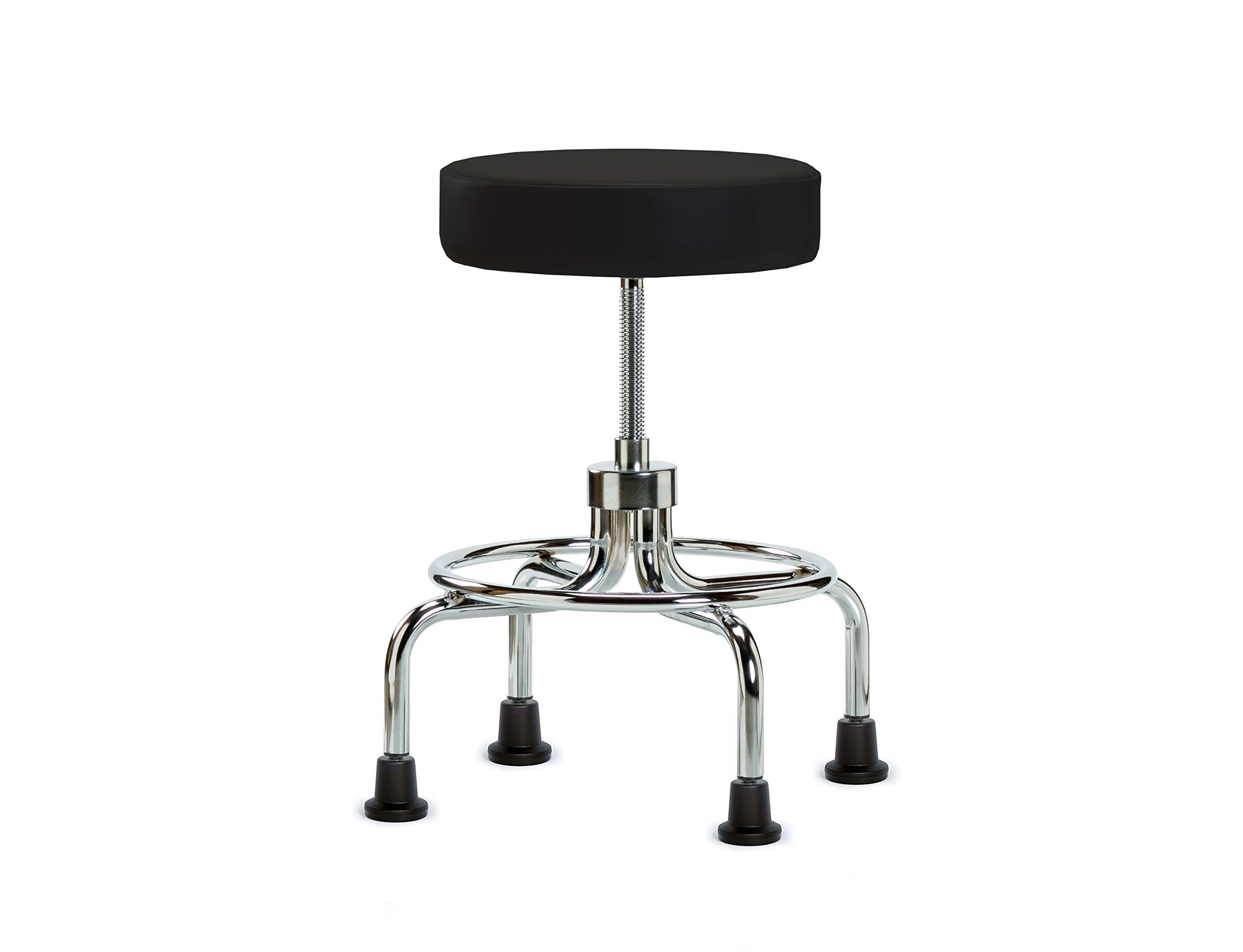 Perch Retro Rolling Exam Stool with Stationary Caps, Black Vinyl by Perch Chairs & Stools