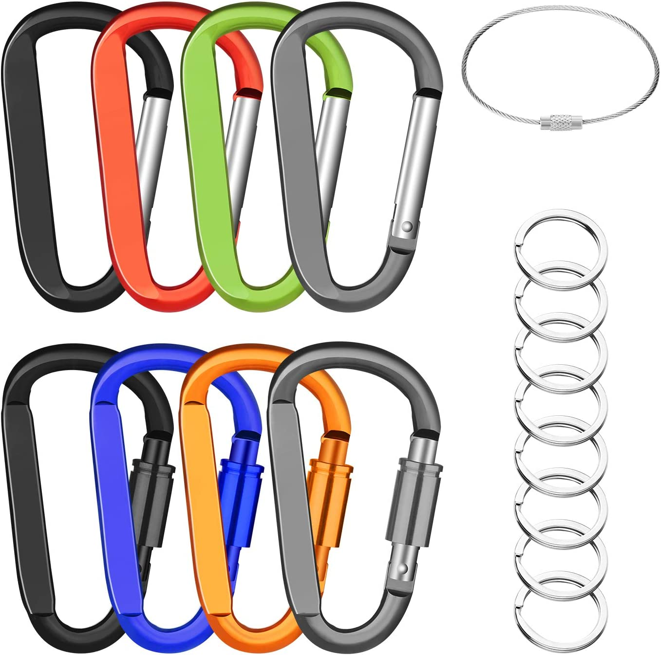 """Michael Josh 3"""" 8PCS Carabiner Caribeaner Keychain Clip,with 8PCS Stainless Wire Cables,8 X Keyrings,4PCS Locking + 4PCS Nonlocking Hook for Backpack"""